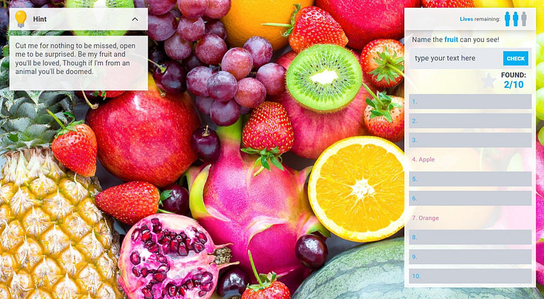 Interactive e-learning - fruit game